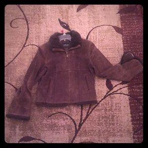 ADLER COLLECTION ByBill Adler Leather FurTrim Coat